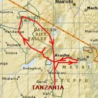 Kaart Tanzania safaris maart tot augustus