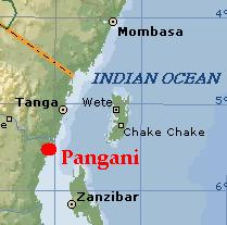 Kaart Pangani