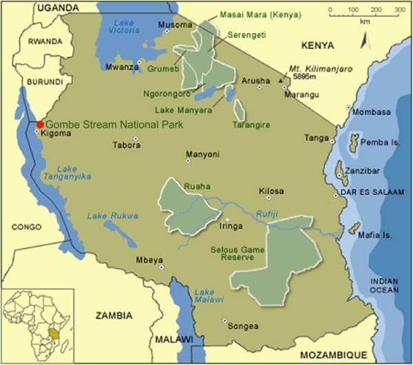 Kaart Tanzaniaanse nationale parken