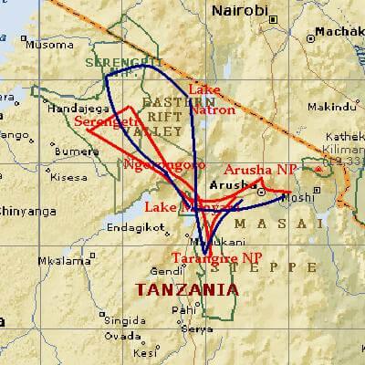 Noorden Tanzania safari routes