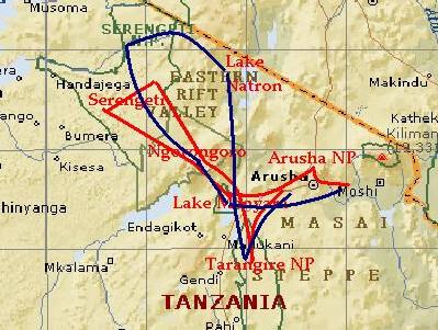 safari Tanzania routes